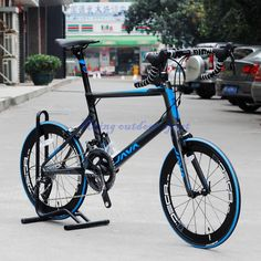 "JAVA Freccia Carbon Minivelo Bike 22 Speed 20in 451 Carbon Mini Velo Bicycle 20"" 1 1/8"" with SRAM FORCE Blue&gray"
