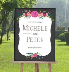 Unique Wedding welcome Sign with Bright Flowers by MDBWeddings