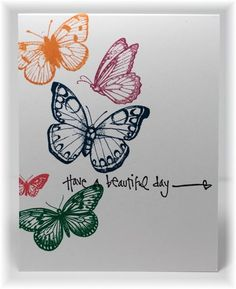 The card - Hero arts butterflies stamped in SU's new In-colors with an added sentiment! Easy!   Sherry has arrived and the fun has begu...