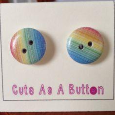 Rainbow stripe wooden button earrings  http://www.facebook.com/cuteasabuttonni