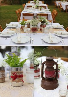 rustic table decoration ideas. Our wedding. We collected cans all year and mason jars, bought fabric and lace and burlap and hot glued them on. Easy and pretty decorations. Photography by Kimberly Carlson