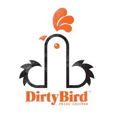 """El artista y diseñador gráfico Mark James ha diseño el logotipo de Dirty Bird (""""Polllo Sucio""""), un restaurante de Cardiff del Reino Unido que sirve pollo frito. Y eso es lo que, en realidad, muestra el logotipo, un pollo frito, aunque va más allá, intencionalmente o por casualidad lo deja a su criterio."""