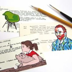 Three painted cards - Charlottes Web, Vincent van Gogh and Eames chair