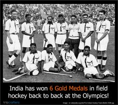 #Fact: Cricket may be a religion now, but India has won 6 gold medals in hockey back to back at the Olympics and a total of 8 golds. Talk about domination.  #Hockey | #India