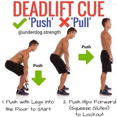 One of my favorite coaching cues I like to use when teaching the deadlift is to think of it as a Push instead of a pull. - This usually corrects a lot of the deadlift errors such as back rounding. You can also use this on a Sumo Deadlift. - How to Deadlift Properly in 7 Steps: 1. Step up to the bar with the barbell about 1-2 inches from your shins. This will put the barbell over the middle of your foot. . 2. Bend down and grip the barbell. You can use a double overhand mixed or a hook grip…
