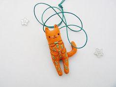 Orange Cat Kids Necklace Embroidered Totem Pocket от supercursi