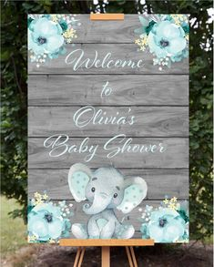Editable mint elephant baby shower welcome sign. So easy and fast! Try the demo … Editable mint elephant baby shower welcome sign. So easy and fast! Try the demo in the product description and try before you buy! Mesas Para Baby Shower, Baby Shower Invitaciones, Baby Shower Decorations For Boys, Boy Baby Shower Themes, Elephant Baby Shower Centerpieces, Girl Baby Showers, Baby Shower For Boys, Baby Theme, Baby Shower Welcome Sign