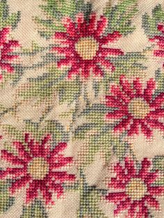 Vintage Danish Embroidered Pillow Cover with Pink Flower