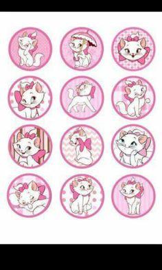 Imprimibles gatita blanca y rosa Bottle Cap Art, Bottle Cap Crafts, Bottle Cap Images, Aristocats Party, Marie Cat, Cat Cupcakes, Christmas Crafts To Sell, Diy Birthday Decorations, Diy Crafts Hacks