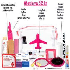 Whats inn your large SOS kits Hair Slides, Hair Tie, Nail Polish Sachet, Emery Board, Hand Wipe Sachet, Mending Kit, Deodorant Sachet, Plaster, Tweezers, Safety Pin, Lips Balm, Tampon, Mending Kit, Ear Plugs, Earring Backs, Mirror, Portable Battery Charger.