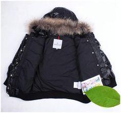 99c4bb870e9 Moncler Kinder Jacken Fur Collar Daunen Schwarz Neue Ankunfts