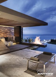 What a view and fireplace.