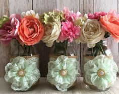 SALE 10x natural color lace and burlap covered mason jar