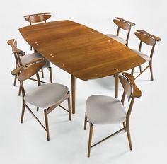 Finn Juhl; #401 Walnut with Brass Inlay Dining Table for Baker, c1955.