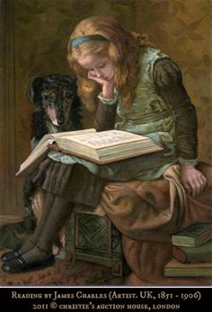 Reading by James CHARLES (Artist. UK, 1851 - 1906). Girl with book & dog.  2011 ©