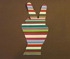 trace your hand doing a peace sign, cut out and make into an iron transfer, or frame for art