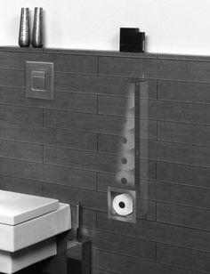 Looox Closed inbouw reserverolhouder RVS Geborsteld Bathroom Tile Designs, Bathroom Design Small, Bathroom Interior Design, Office Bathroom, Downstairs Bathroom, Modern Bathroom, Hidden Toilet, Shower Cabinets, Wc Design