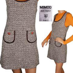 Vintage 60s Mod Tweed Jumper Pinafore Dress by Mimod Paris Size S