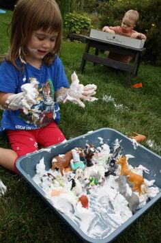 #Shaving cream and #glitter.  Inexpensive and awesome messy play!  happyhooligans.ca