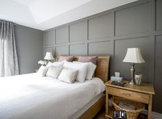 home accents diy Board and batten, board and batten accent wall, DIY board and batten, board and batten in master bedroom, diy wainscoting Accent Wall Bedroom, Gray Bedroom, Home Bedroom, Bedroom Decor, Bedroom Furniture, Basement Master Bedroom, Feature Wall Bedroom, Bedroom Designs, Bedroom Ideas