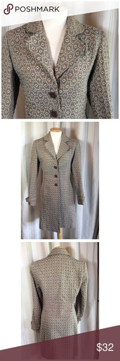"DALIA COAT Fun light weight coat.  Dress it up with jewelry or go casual with jeans.  Cotton/Polyester/Rayon. Fully lined in brown.  Side slit pockets. 18"" at chest 16"" at waist. 36"" long. Lightly padded shoulders. Great condition Dalia Jackets & Coats"