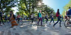 UBC Student Services, University of British Columbia, Vancouver BC  Photo by Kent Kallberg, Kent Kallberg Studios http://www.kallbergstudios.com/  Vancouver, BC, Canada #photography #photographer #Vancouverphotographer #Vancouver  #University #Students #Longboard #Walking