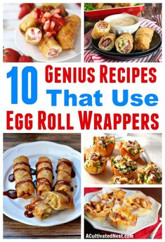 egg rolls Trying to figure out what to make with egg roll wrappers? You're in luck, because there are tons of great recipes that use egg roll wrappers, including entrees and desserts! Check out all these delicious recipe ideas! Recipes Using Egg Roll Wrappers, Eggroll Wrapper Recipes, Wonton Recipes, Egg Roll Recipes, Wrap Recipes, Appetizer Recipes, Lumpia Wrapper Recipe, Won Ton Wrapper Recipes, Party Appetizers