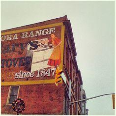 Scenic Cambridge Ontario. Vintage wall advertising