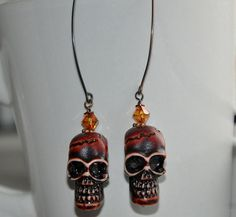 Skull Earrings Dangle Earrings Unique Jewelry by jewelrybyirina, $19.50