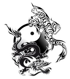 New asian dragon tattoo designs yin yang ideas Dragon And Tiger Yin Yang Tattoo, Asian Dragon Tattoo, Tiger Dragon, Dragon Tattoos, Yin Yang Tattoos, Yin Yang Art, Wild Tattoo, Asian Tattoos, Tiger Art