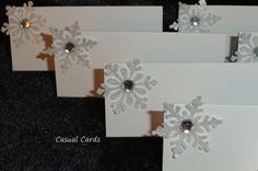 Silver Snowflake Wedding Place Cards Escort Cards by CasualCards