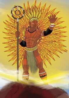 """Guaraci or Quaraci (from Tupi kûarasý, """"sun"""") in the Guaraní mythology is the god of the Sun, creator of all living creatures. Character Inspiration, Character Design, Indigenous Tribes, Black Love Art, World Of Darkness, Urban Legends, Conceptual Art, Orisha, Gods And Goddesses"""