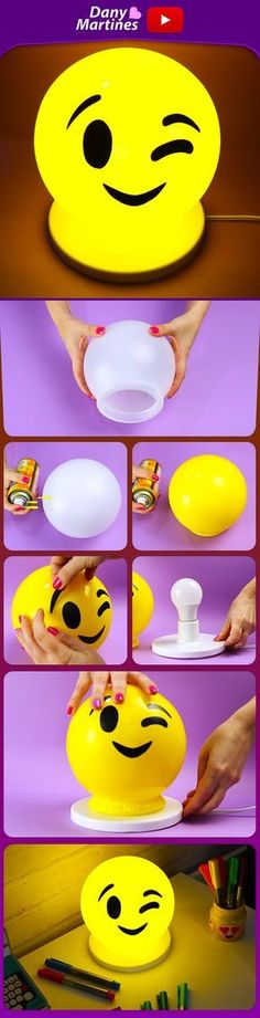 Make yourself a beautiful emoji lamp, it is the most beautiful thing to . - Make yourself a beautiful emoji lamp, it is the most beautiful thing to decorate your corner, DIY, - Diy Tumblr, Diy Arts And Crafts, Diy Crafts For Kids, Craft Projects, Projects To Try, Diy Lampe, Diy Room Decor, Crafty, Handmade