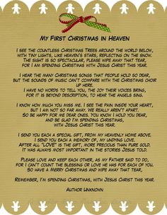 My First Christmas in Heaven    A phenomenal poem for those of us who have lost loved ones during the past year.