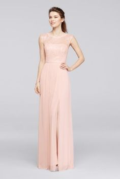"""Looking for a little lace for your bridesmaids? This long metallic bridesmaid dress features a lace bodice, an illusion neckline, a ribbon-defined waist, and a fluid mesh skirt with a slit.  4"""" extra length  Polyester, rayon, nylon  Back zipper; fully lined  Dry clean  Imported  Also available in Regular"""