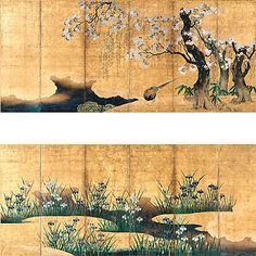 Pheasants under Cherry and Willow Trees and Irises and Mist Attributed to Kano Ryokei (died 1645) Japan, Kyoto Prefecture, Nishihonganji; Edo period (1615-1867), first half 17th century The three trunks with exposed roots in the foreground of the right-hand screen of this pair is a typical example of the tripartite composition, the sharply defined forms, and the interest in precise details that illustrate the traditional style of the Kano school of painting in the early 17th century.