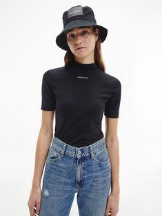 Coton Bio, Calvin Klein Jeans, Mock Neck, Latest Trends, Organic Cotton, T Shirt, Hipster, Women's Casual, Shopping