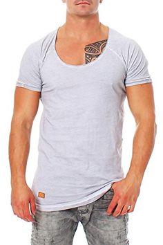 Herren Redbridge T-shirt mit großem Rundhals-Ausschnitt kurzarm, Longshirt Men´s T-shirt