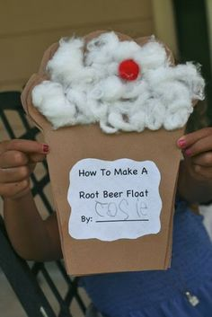 Writing 1. Root Beer Float Writing. This activity is easily changed for another topic. Paper is cut into the shape of a root beer float, there are multiple pages for each step of the process. After making a root beer float, the student writes down the steps in the pages. Can be used with other processes that use multiple steps such as making a sandwich, making a cake, or other activities.