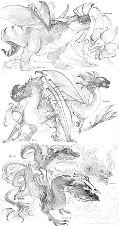 Smokey Dark by Mr--Jack on DeviantArt The last batch of Dragonvale dragons! I might draw some more a Creature Concept Art, Creature Design, Creature Drawings, Animal Drawings, Art Drawings, Dragon Anatomy, Dragon Sketch, Dragon Drawings, Cool Dragons