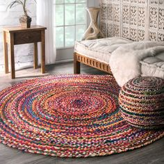 nuLOOM Casual Handmade Braided Cotton Multi Round Rug (8' Round) - Free Shipping Today - Overstock.com - 17914288 - Mobile