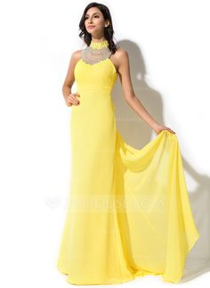 Trumpet/Mermaid High Neck Watteau Train Chiffon Tulle Evening Dress With Ruffle Beading Sequins Bow(s) (017052637)