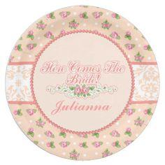 Feminine Peach Floral, Bridal Shower Paper Plate