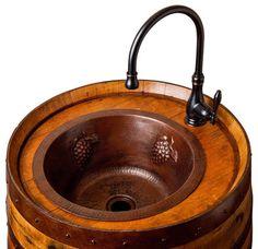Wine Barrel Bar Sink - contemporary - bathroom vanities and sink consoles - Alpine Wine Design Rustic Bar Sinks, Rustic Bathroom Vanities, Bathroom Sinks, Bathroom Vanity Chair, Bathroom Vanity Makeover, Copper Bar, Hammered Copper, Wine Barrel Sink, Wine Barrels