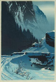 Bridge Over a Mountain Stream, Winter, color woodcut - Oscar Droege, c. 1930,