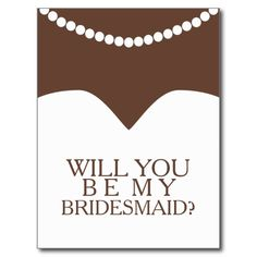 Will You Be My Bridesmaid Dress and Pearls Post Cards