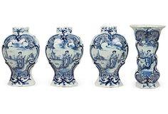 Dutch Delft Vases, Set of 4, II