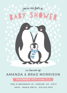 """Brrr! Baby, it's cold outside! If you're looking for a baby shower card for a winter themed shower, this is the perfect card for you. Your guests will be delighted to receive these adorable cards featuring a cute little penguin family of three and falling snow. The Penguin Winter <a class=""""crosslink"""" href=""""https://www.basicinvite.com/baby/baby-shower-invitations.html"""" target=""""_self"""" alt=""""Customizable Baby Shower Invites"""" title=""""Customizable Baby Shower Invites"""">Baby Shower Invitations</a…"""
