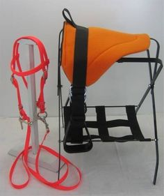 "Mini Horse / Sm Pony Bareback Pad Set - Bright Orange by Party Ponies. $49.99. Bright Hunter Orange!. Complete - All you need to ride!. Hard to find size!. Bright Orange Set! Adorable Miniature Horse / Small Pony bareback pad saddle set. Matching bridle. *Total length is 14"" *21"" width if laid flat *45"" nylon cinch *4.5"" detachable, adjustable stirrups Broweband complete bridle, with undropable rein and 3.5"" snaffle. Measures 32"" from bit attachment, around ears, to other side, a..."
