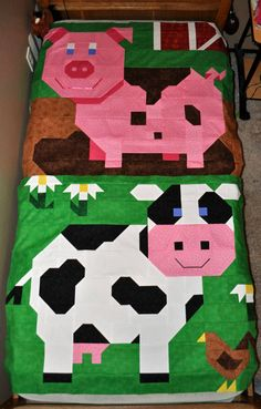Pig Quilt Pattern in Multiple sizes PDF by CountedQuilts on Etsy
